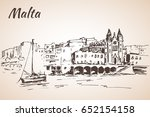 malta island old buildings... | Shutterstock .eps vector #652154158