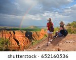 friends  hiking on vacation... | Shutterstock . vector #652160536