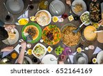 top view of family and friends... | Shutterstock . vector #652164169