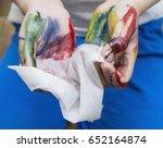 wet baby wipes. 5 year old boy... | Shutterstock . vector #652164874