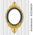 oval vintage frame on white wall | Shutterstock .eps vector #652166014