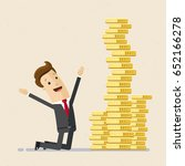 happy businessman with stack of ... | Shutterstock .eps vector #652166278