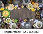 copy space of top view food... | Shutterstock . vector #652166983
