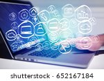 view of a technology hand drawn ... | Shutterstock . vector #652167184