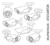 set of cctv camera in thin line ... | Shutterstock .eps vector #652168528