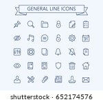 general vector icons set. thin... | Shutterstock .eps vector #652174576