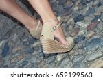 woman in wedge shoes  | Shutterstock . vector #652199563