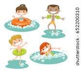 set of isolated kids playing at ...   Shutterstock .eps vector #652200310