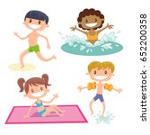 set of isolated cartoon kids... | Shutterstock .eps vector #652200358
