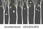 birch tree with deer and birds... | Shutterstock .eps vector #652201303