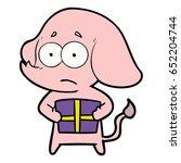 cartoon unsure elephant with...   Shutterstock .eps vector #652204744