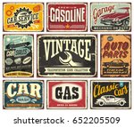 Stock vector vintage transportation signs collection for car service auto parts car wash gas station garage 652205509