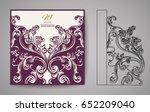 laser cut invitation card.... | Shutterstock .eps vector #652209040