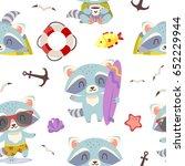 vector summer beach raccoon... | Shutterstock .eps vector #652229944