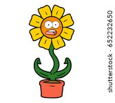 cartoon shocked flower | Shutterstock .eps vector #652232650
