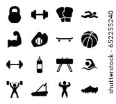 athletic icons set. set of 16... | Shutterstock .eps vector #652255240