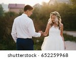 romantic bride and groom on the ... | Shutterstock . vector #652259968