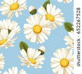 camomile and polka dot seamless ... | Shutterstock .eps vector #652267528