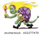 cute cartoon turtle in bright... | Shutterstock .eps vector #652277470
