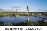 Aerial view of Skytrain Bridge  in New Westminster, Greater Vancouver, British Columbia, Canada.