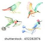 little birds watercolor | Shutterstock . vector #652282876