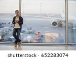 traveler inside airport... | Shutterstock . vector #652283074