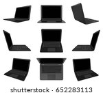 black laptop computer with... | Shutterstock . vector #652283113