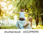 happy family of three persons... | Shutterstock . vector #652299094