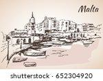 malta island old buildings...   Shutterstock .eps vector #652304920