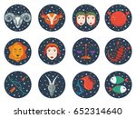 zodiac signs in circles with... | Shutterstock .eps vector #652314640