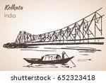 Sketch of indian city Kolkata bridge. Isolated on white background