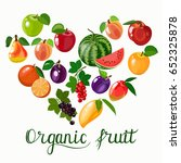 organic fruits template. vector ... | Shutterstock .eps vector #652325878