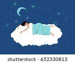 happy woman sleeping on a cloud ... | Shutterstock .eps vector #652330813