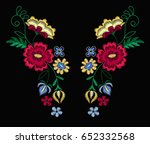 Stock vector vector design for collar t shirts and blouses colorful ethnic flowers neck line embroidery for 652332568