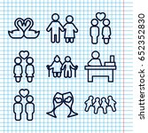 set of 9 couple outline icons... | Shutterstock .eps vector #652352830