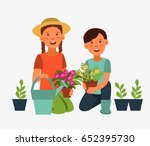 cute kids gardening. children... | Shutterstock .eps vector #652395730