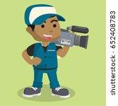african boy reporter cameraman | Shutterstock .eps vector #652408783