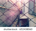 old metal fence at the space... | Shutterstock . vector #652438060
