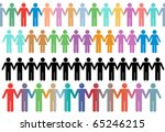 rows of diverse stick figure... | Shutterstock .eps vector #65246215
