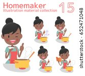 a homemaker cooks delicious food | Shutterstock .eps vector #652471048