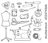 sewing accessories. set of... | Shutterstock .eps vector #652474366