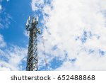 communications tower with blue...