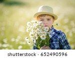 happy childhood.  cute boy in a ... | Shutterstock . vector #652490596