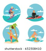 surfing man flat cartoon vector ... | Shutterstock .eps vector #652508410