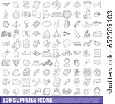100 supplies icons set in... | Shutterstock .eps vector #652509103