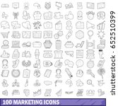 100 marketing icons set in... | Shutterstock .eps vector #652510399