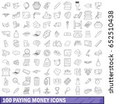 100 paying money icons set in... | Shutterstock .eps vector #652510438