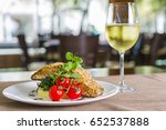 seared salmon fillet with wine... | Shutterstock . vector #652537888