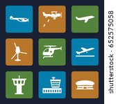 aircraft icons set. set of 9... | Shutterstock .eps vector #652575058