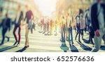 busy pedestrian crossing over...   Shutterstock . vector #652576636